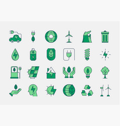green outline eco icons vector image