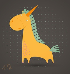 Greeting card with cute unicorn vector