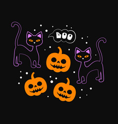 halloween card with black cat and pumpkin vector image
