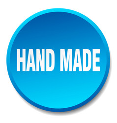 hand made blue round flat isolated push button vector image