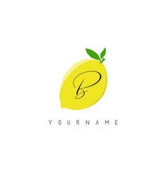 Handwritten b letter logo design with lemon vector