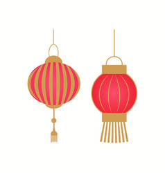 hanging lantern with golden stripes vector image