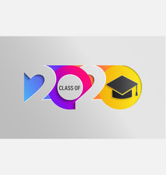 Happy class 2020 graduation colour banner vector
