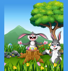 happy easter rabbit on the beautiful garden vector image