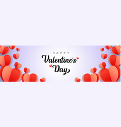 happy valentines day background with paper hearts vector image