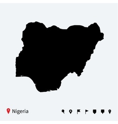 High detailed map of Nigeria with navigation pins vector