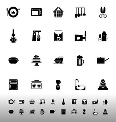 Home kitchen icons on white background vector image