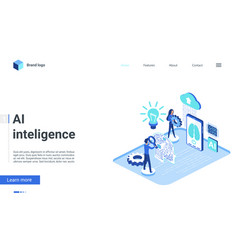 isometric artificial intelligence landing page vector image