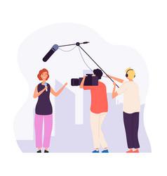 Journalist report girl reporter with microphone vector