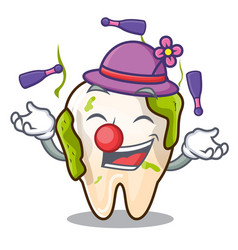 Juggling cartoon decayed tooth with dental caries vector