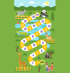 kids zoo animals board game template vector image