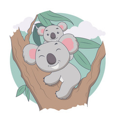 koala and mother in tree animal tree and leave vector image