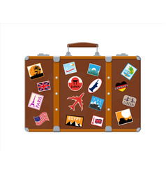 leather retro bag with stickers vector image
