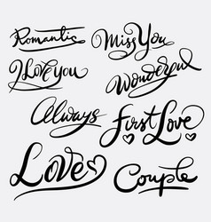 Love and romantic hand written typography vector