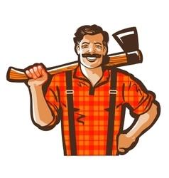 Lumberjack logo woodcutter or lumbering vector