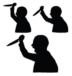 Man silhouette with knife in hand set vector