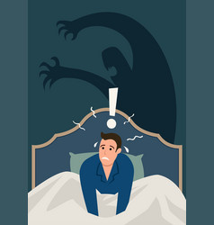 Man wake up in middle night stressed vector