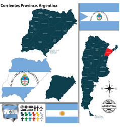 Map of corrientes province argentina vector