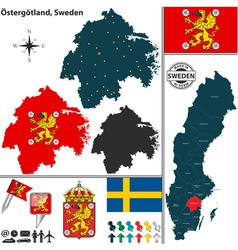 Map of Ostergotland vector