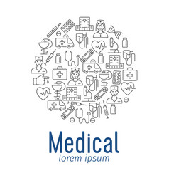 Medical poster with flat icons vector