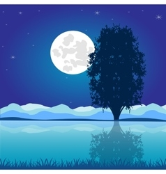 Moon riverside night vector