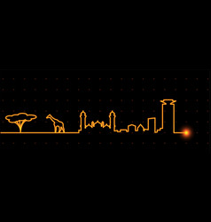 Nairobi light streak skyline vector