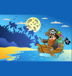 night seascape with pirate in boat vector image