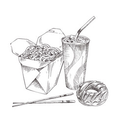Noodles asian food sketches vector