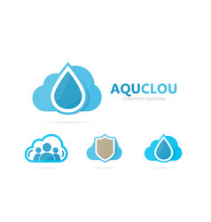 Oil and cloud logo combination drop and vector