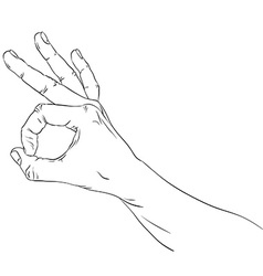 Okay hand sign detailed black and white lines vector image