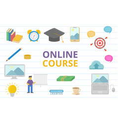 online course doodle concept with sign or symbol vector image