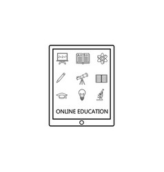 online education line icon set e-learning vector image