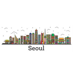 Outline seoul south korea city skyline with color vector