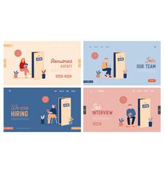 people waiting job interview website landing page vector image