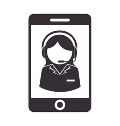 Person operator headset service assistant icon vector