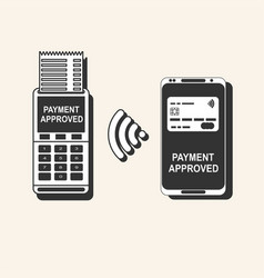 pos terminal confirms the payment by smartphone vector image