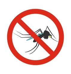 Prohibition sign mosquitoes icon flat style vector image