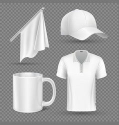 Promotional items set mockup vector