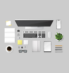 realistic 3d detailed top view workplace vector image