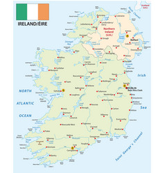Republic ireland map with flag vector