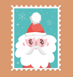 santa wearing hat with pompon merry christmas vector image