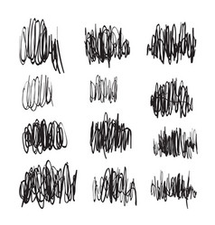 scribble brush strokes set logo design vector image