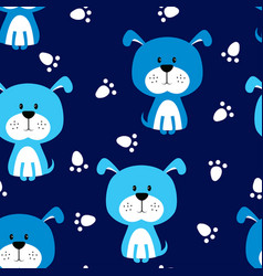 seamless blue dog pattern vector image