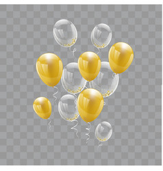 set gold balloons isolated celebration party vector image