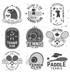 Set of paddle tennis and tennis badge emblem or vector