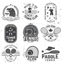 Set of paddle tennis and tennis badge emblem vector