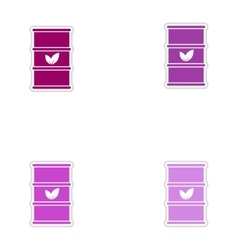 Set of paper stickers on white background iron vector