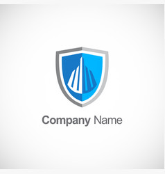 Shield building secure logo vector