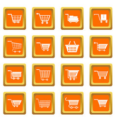 shopping cart icons set orange vector image vector image