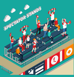 Spectator stands with fans isometric vector
